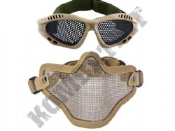 Metal Mesh airsoft safety glasses and lower face steel wire mesh mask bundle tan